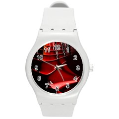 Red Black Fractal Mathematics Abstract Round Plastic Sport Watch (m)