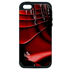 Red Black Fractal Mathematics Abstract Apple Iphone 5 Hardshell Case (pc+silicone)