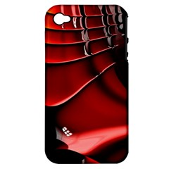 Red Black Fractal Mathematics Abstract Apple Iphone 4/4s Hardshell Case (pc+silicone)