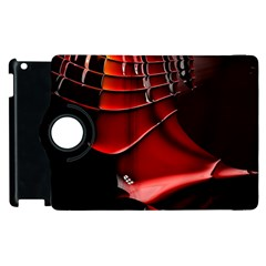 Red Black Fractal Mathematics Abstract Apple Ipad 2 Flip 360 Case