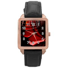 Red Black Fractal Mathematics Abstract Rose Gold Leather Watch