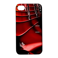 Red Black Fractal Mathematics Abstract Apple Iphone 4/4s Hardshell Case With Stand