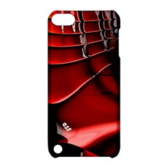 Red Black Fractal Mathematics Abstract Apple Ipod Touch 5 Hardshell Case With Stand