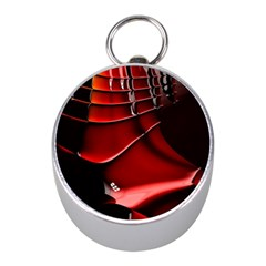 Red Black Fractal Mathematics Abstract Mini Silver Compasses