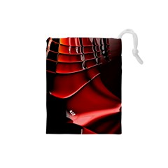 Red Black Fractal Mathematics Abstract Drawstring Pouches (small)
