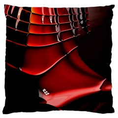Red Black Fractal Mathematics Abstract Large Flano Cushion Case (Two Sides)