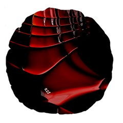 Red Black Fractal Mathematics Abstract Large 18  Premium Flano Round Cushions