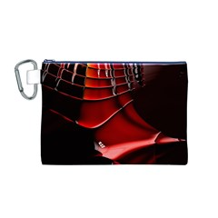 Red Black Fractal Mathematics Abstract Canvas Cosmetic Bag (m)