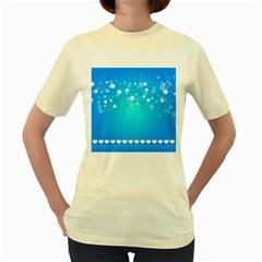 Desktop Banner Postcard Hearts Women s Yellow T Shirt