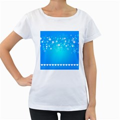Desktop Banner Postcard Hearts Women s Loose Fit T Shirt (white)