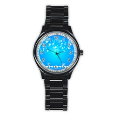 Desktop Banner Postcard Hearts Stainless Steel Round Watch