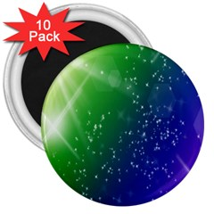 Shiny Sparkles Star Space Purple Blue Green 3  Magnets (10 pack)
