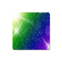 Shiny Sparkles Star Space Purple Blue Green Square Magnet