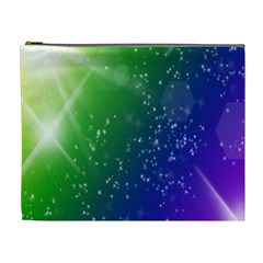 Shiny Sparkles Star Space Purple Blue Green Cosmetic Bag (xl)