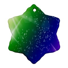 Shiny Sparkles Star Space Purple Blue Green Snowflake Ornament (Two Sides)