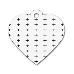 Sign Cross Plus Black Dog Tag Heart (Two Sides)