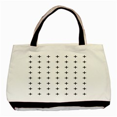 Sign Cross Plus Black Basic Tote Bag (two Sides)