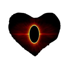 Solar Eclipse Moon Sun Black Night Standard 16  Premium Heart Shape Cushions