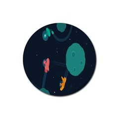 Space Illustration Irrational Race Galaxy Planet Blue Sky Star Ufo Rubber Round Coaster (4 Pack)