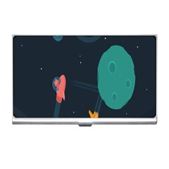 Space Illustration Irrational Race Galaxy Planet Blue Sky Star Ufo Business Card Holders