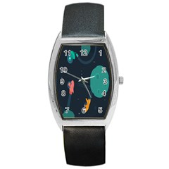 Space Illustration Irrational Race Galaxy Planet Blue Sky Star Ufo Barrel Style Metal Watch