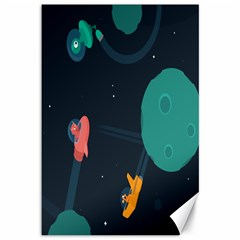 Space Illustration Irrational Race Galaxy Planet Blue Sky Star Ufo Canvas 12  x 18