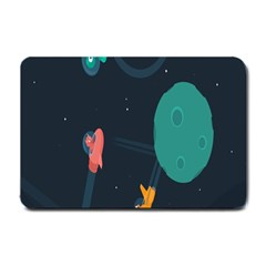 Space Illustration Irrational Race Galaxy Planet Blue Sky Star Ufo Small Doormat