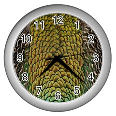 Peacock Bird Feather Gold Blue Brown Wall Clocks (silver)