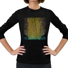 Peacock Bird Feather Gold Blue Brown Women s Long Sleeve Dark T Shirts