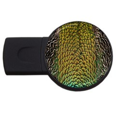 Peacock Bird Feather Gold Blue Brown USB Flash Drive Round (4 GB)