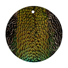 Peacock Bird Feather Gold Blue Brown Round Ornament (Two Sides)