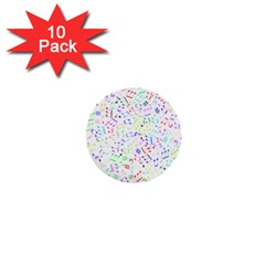 Prismatic Musical Heart Love Notes Rainbow 1  Mini Buttons (10 pack)