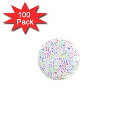 Prismatic Musical Heart Love Notes Rainbow 1  Mini Magnets (100 pack)