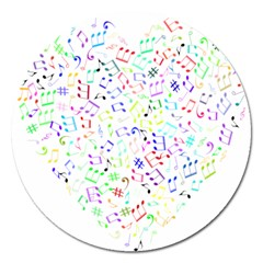 Prismatic Musical Heart Love Notes Rainbow Magnet 5  (round)