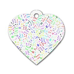 Prismatic Musical Heart Love Notes Rainbow Dog Tag Heart (one Side)