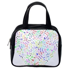 Prismatic Musical Heart Love Notes Rainbow Classic Handbags (one Side)
