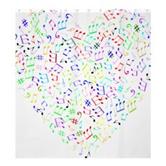 Prismatic Musical Heart Love Notes Rainbow Shower Curtain 66  X 72  (large)