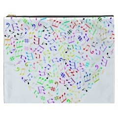 Prismatic Musical Heart Love Notes Rainbow Cosmetic Bag (xxxl)