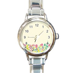 Spring Floral Flower Rose Tulip Leaf Flowering Color Round Italian Charm Watch