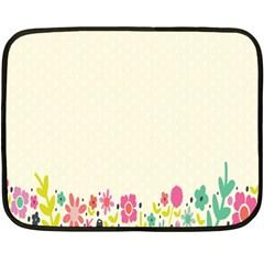 Spring Floral Flower Rose Tulip Leaf Flowering Color Fleece Blanket (mini)