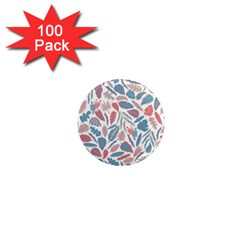 Spencer Leaf Floral Purple Pink Blue Rainbow 1  Mini Magnets (100 Pack)
