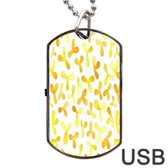 Springtime Yellow Helicopter Dog Tag USB Flash (One Side)