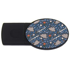 Spring Flower Floral Rose Rain Blue Grey Cloud Water Usb Flash Drive Oval (2 Gb)
