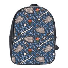 Spring Flower Floral Rose Rain Blue Grey Cloud Water School Bags(large)