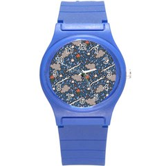 Spring Flower Floral Rose Rain Blue Grey Cloud Water Round Plastic Sport Watch (s)