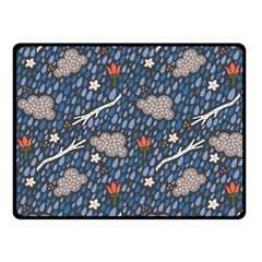 Spring Flower Floral Rose Rain Blue Grey Cloud Water Double Sided Fleece Blanket (Small)