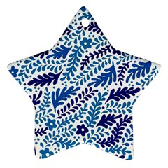 Spring Flower Leaf Blue Ornament (star)