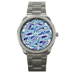 Spring Flower Leaf Blue Sport Metal Watch