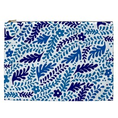 Spring Flower Leaf Blue Cosmetic Bag (xxl)