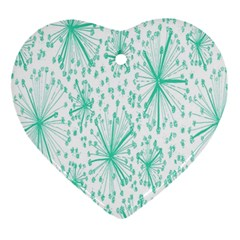 Spring Floral Green Flower Ornament (heart)